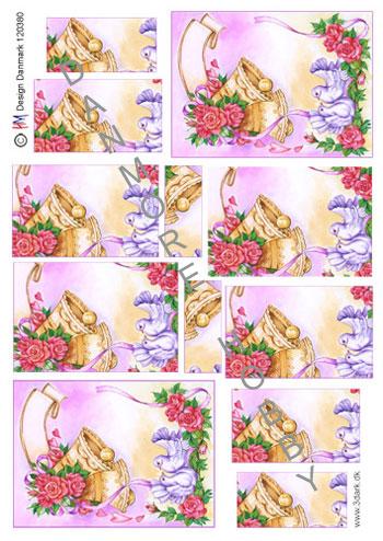 ba553c1f87eb 3D klokke med blomst og duer