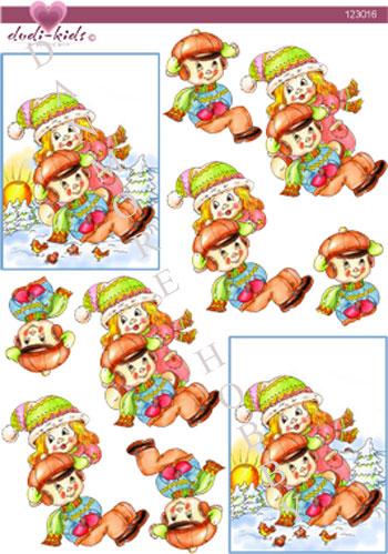 29126e0206f9 3D dudi-kids børne der hygger i sneen