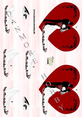 da57ecc883ca 3D ark brudepar i hjerte til 2 kort
