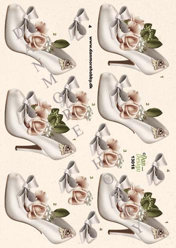 ad4b905d3695 3D ark hvide brudesko med blomst